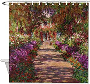"VinMea Polyester Waterproof Fabric Bath Curtain with Hooks A-Pathway-in-Monets-Garden-Giverny-Claude-Monet Shower Curtain for Bathroom Decor 72"" X 72"""