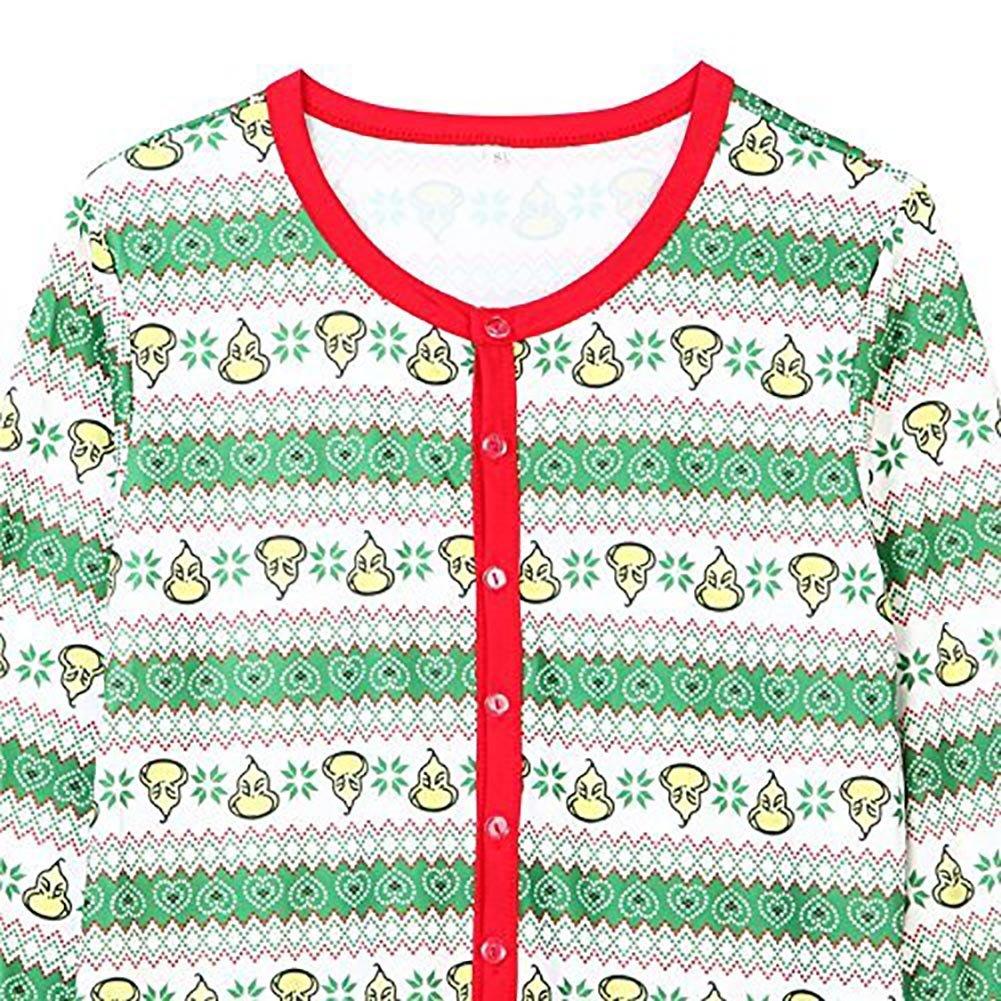 Carolilly Pyjama de No/ël pour Toute La Famille Combinaison Jumpsuit Barboteuse Romper Vert