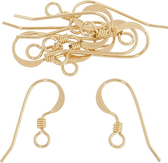 100 pack 14 kt gold filled Ear wires hammered coil French  hook  bulk whole sale  jewelry making  earring supplies fish hook