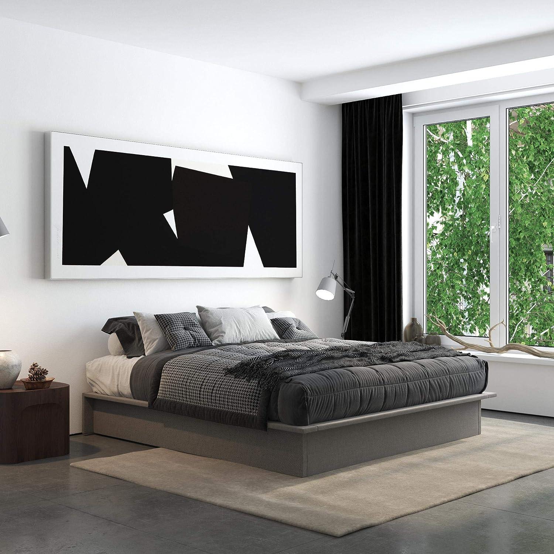 DHP Maven Platform, King Size Frame, Grey Linen Upholstered Beds,