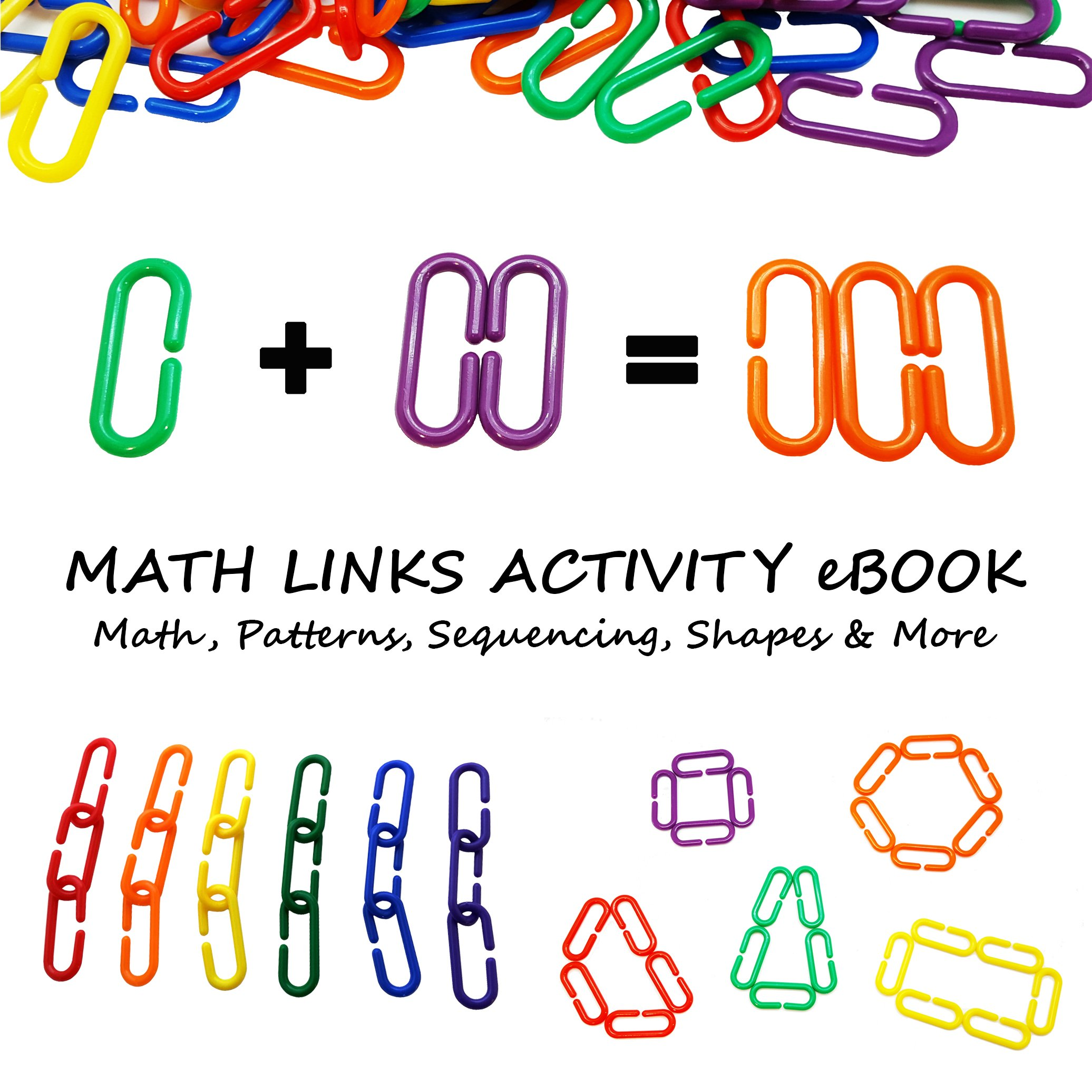 Skoolzy Linking Math Manipulatives Learning Toys - 120 Rainbow Math Links Counters with Tote & Preschool Learning Activities eBook - Kids Counting Toys Kindergarten Fine Motor Skills with Tote by Skoolzy (Image #7)