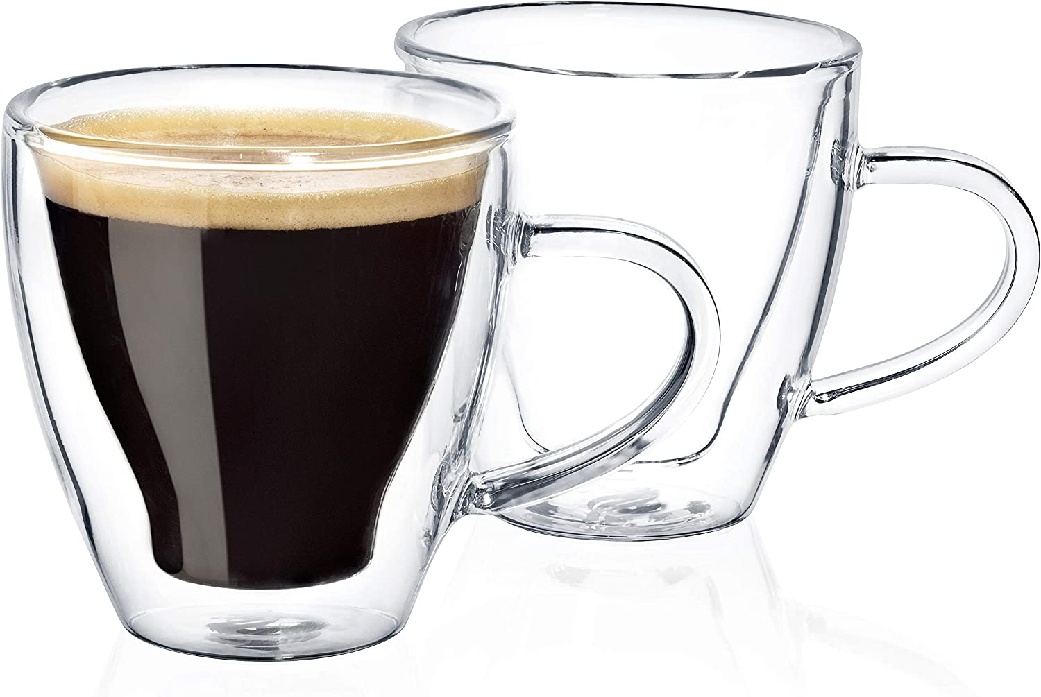 Dragon Glassware Espresso Cups, Insulating Double Walled Glass, 4-Ounce, Set of 2