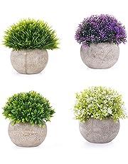 EEKONG Plantas Artificiales Suculentas Plásticas Flor pequeñas en Maceta para decoración del hogar o la Oficina Decorativa en Maceta Oficina en Casa Paquete de 4
