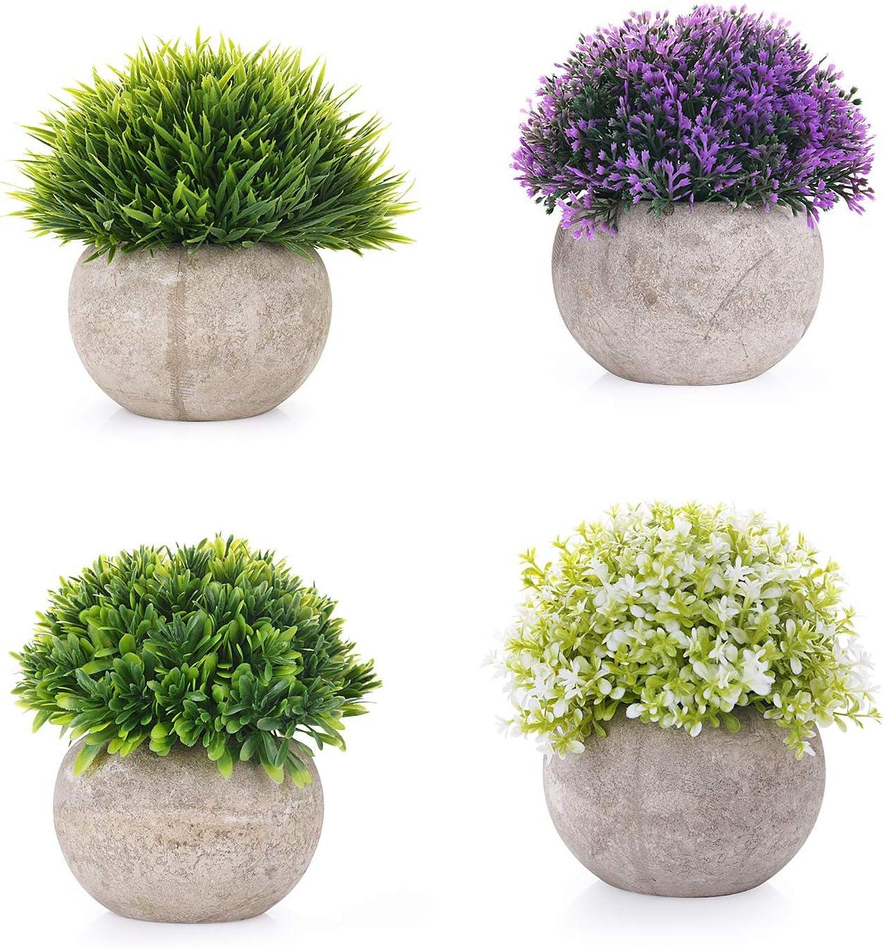 EKKONG Plantas Artificiales Suculentas Plásticas Flor pequeñas en Maceta para decoración del hogar o la Oficina Decorativa en Maceta Oficina en Casa Paquete de 4 (4 pcs)