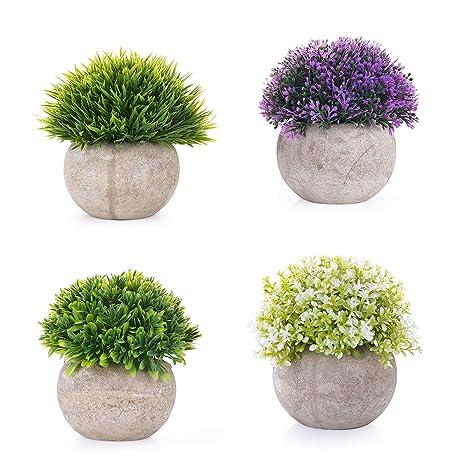 EKKONG Künstliche Blumen Bonsai Kunstpflanze mit grauen Topf Mini Kunststoff Fälschung Grünes Gras, für Hochzeit/Büro/Zuhause