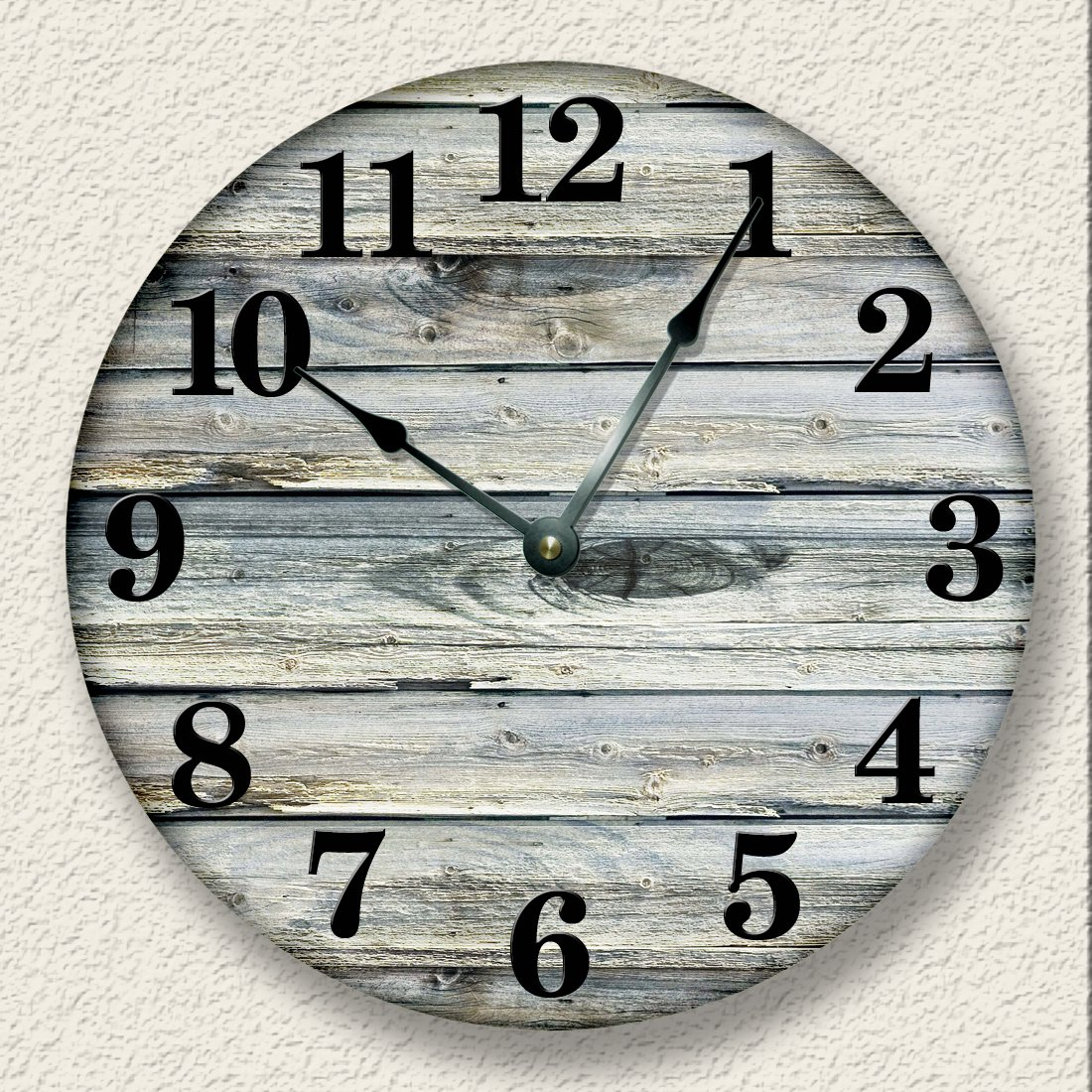 Amazon Rustic Wall Clock Weathered Boards Image Beach Sand Tan Cabin Country Decor Home Kitchen
