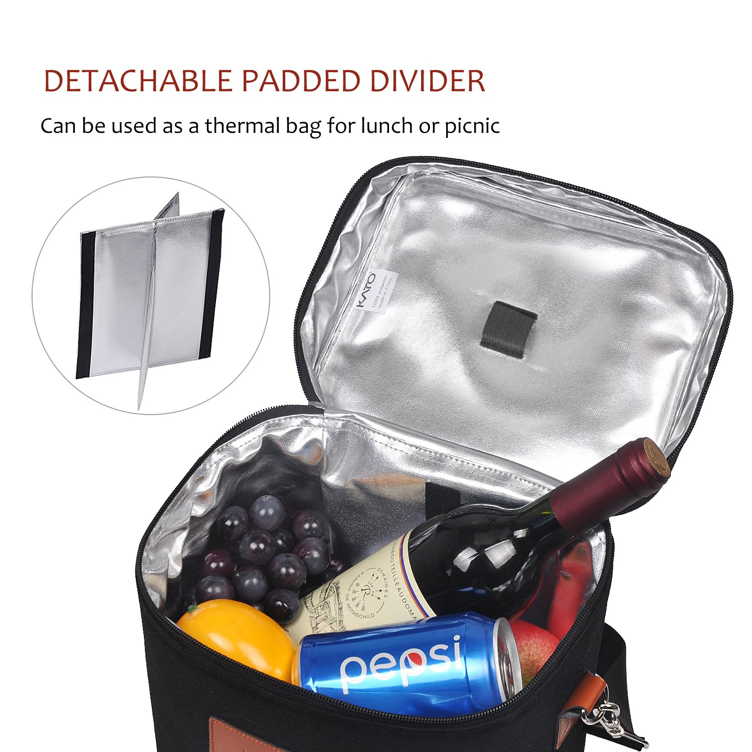 Kato Insulated Wine Carrier Bag - 4 Bottle Travel Padded Wine Carrying CoolerTote with Handle and Shoulder Strap, Great Wine Lover Gift, Black by Kato (Image #3)