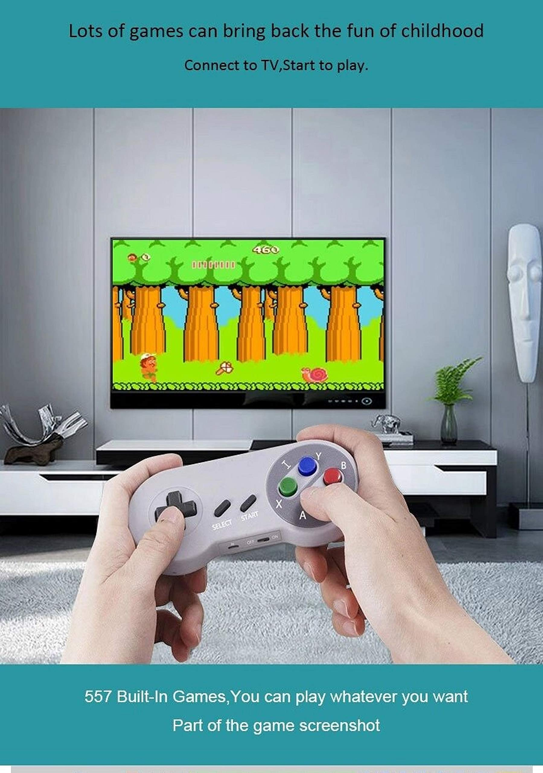Old Arcade Classic Mini Game Consoles Classic Game Consoles Built-in 557 Games Video Games Handheld Game Player,AV Output,8-Bit , with 2.4 GHZ Wireless Controllers by Happy Zane (Image #1)