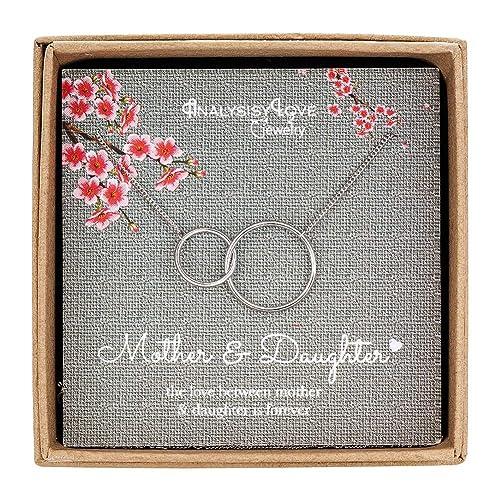 Collar para madre e hija, de plata de ley con 2 círculos ...