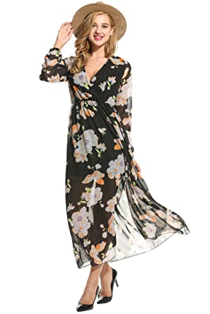 c61534b9cb9 OD lover Women s Chiffon V-Neck Floral Print Slit Side Long Maxi Dress Black