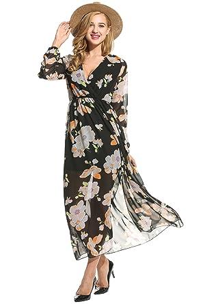 9b25c6ccec72 OD'lover Women's Chiffon V-Neck Floral Print Slit Side Long Maxi Dress Black