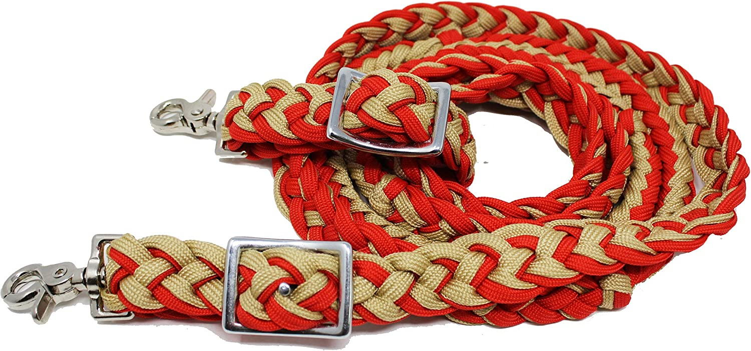Roping Knotted Horse Tack Western Barrel Reins Nylon Braided Red Black 60716
