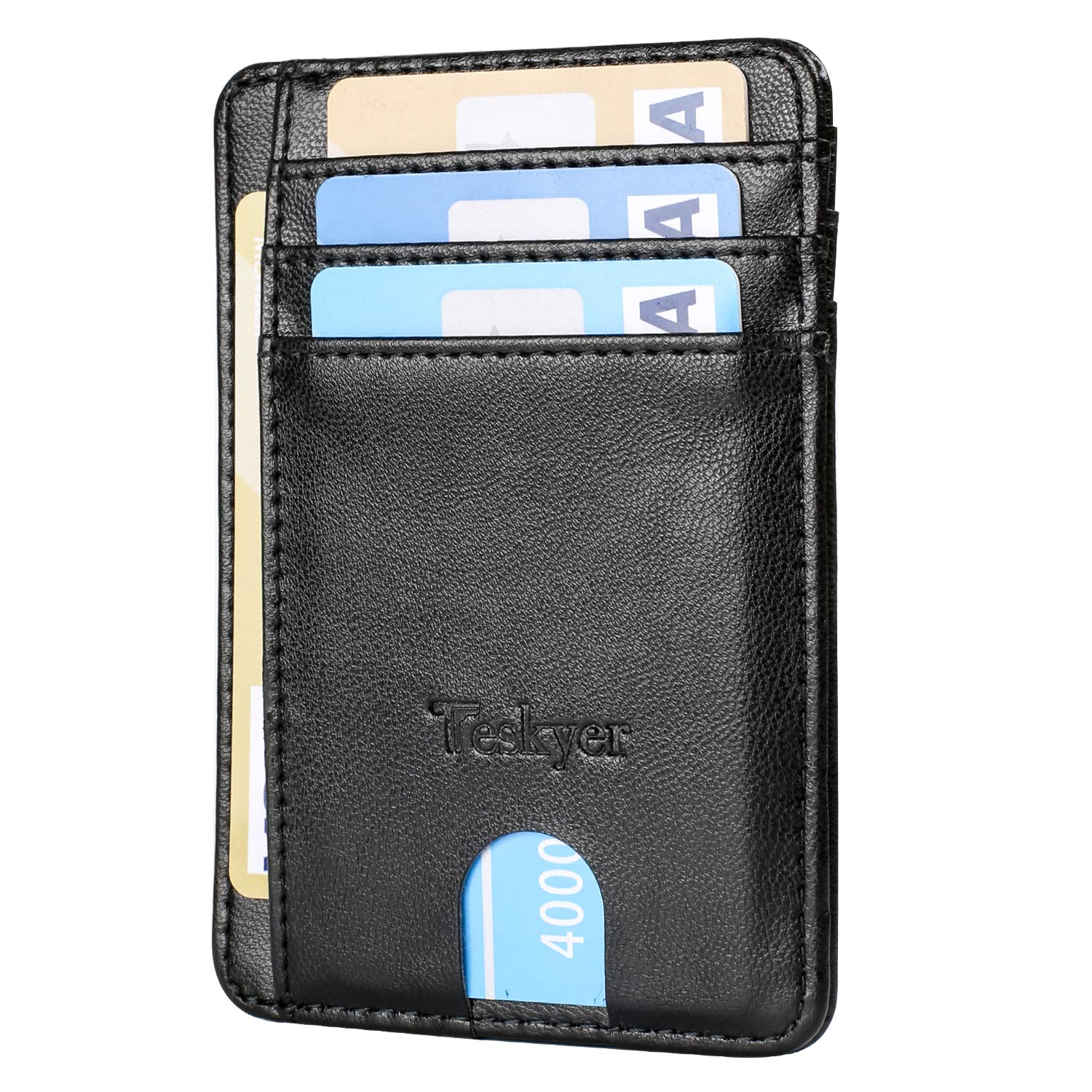 Teskyer Slim Minimalist Wallet RFID Blocking Credit Card Holder Front Pocket Leather ID Wallet Case for Men Women