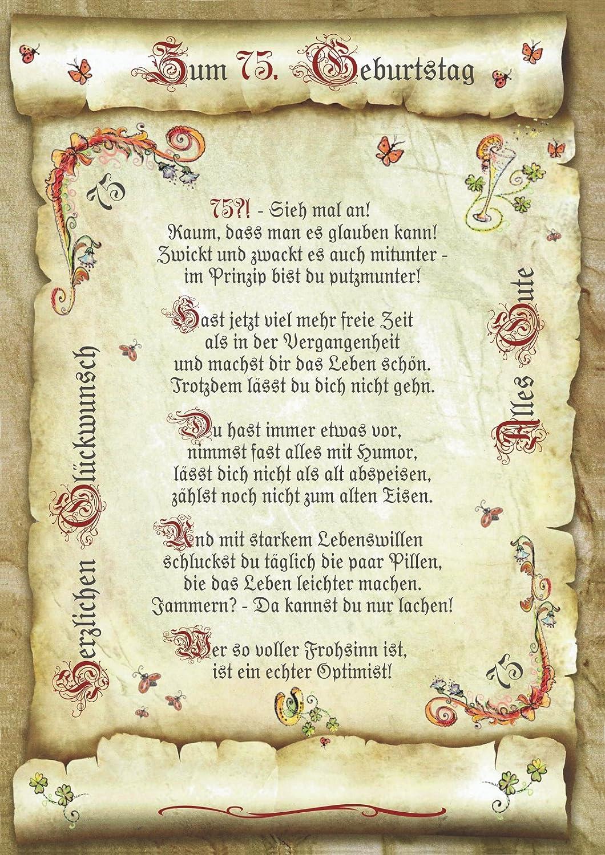 Geschenk 75 Geburtstag Gedicht Präsent Jubiläum