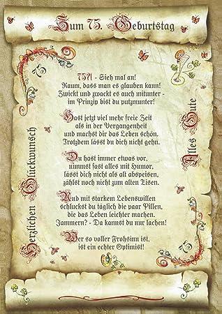 Geschenk 75 Geburtstag Gedicht Präsent Jubiläum Amazonde Küche