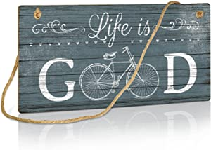 Putuo Decor Bicycle Sign, Rustic Riding Wall Art Decor for Front Door, Porch, Yard, 10x5 Inches Hanging Plaque - Life is Good