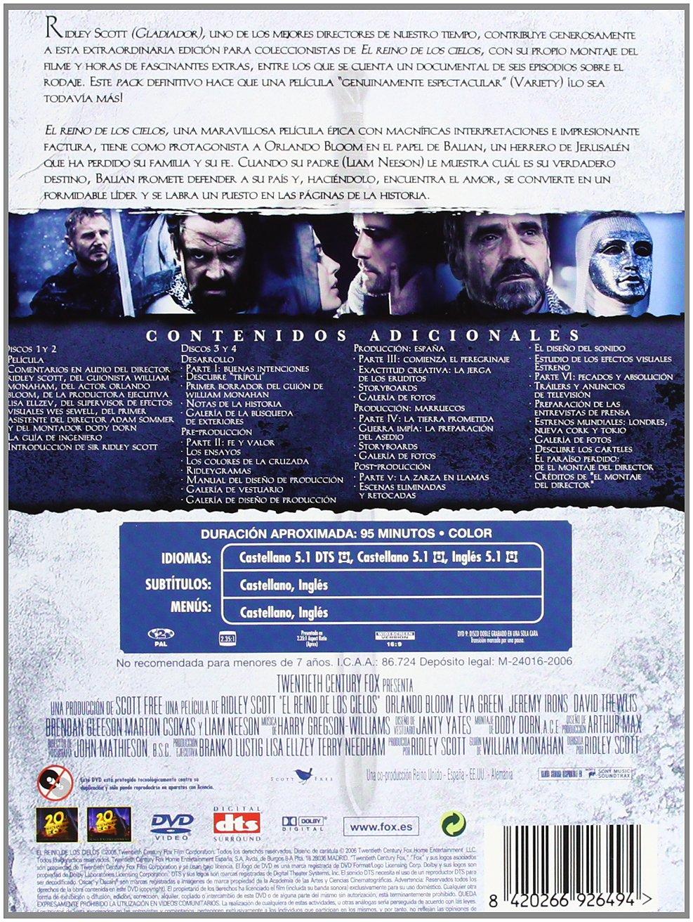 El reino de los cielos El montaje del director DVD: Amazon.es: Orlando Bloom, Liam Neeson, Jeremy Irons, Eva Green, David Thewlis, Marton Csokas, ...