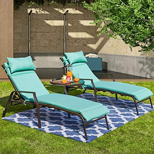 PatioFestival Patio Lounge Chair Outdoor Chaise Chairs Portable Adjustable Metal Leisure Recliner