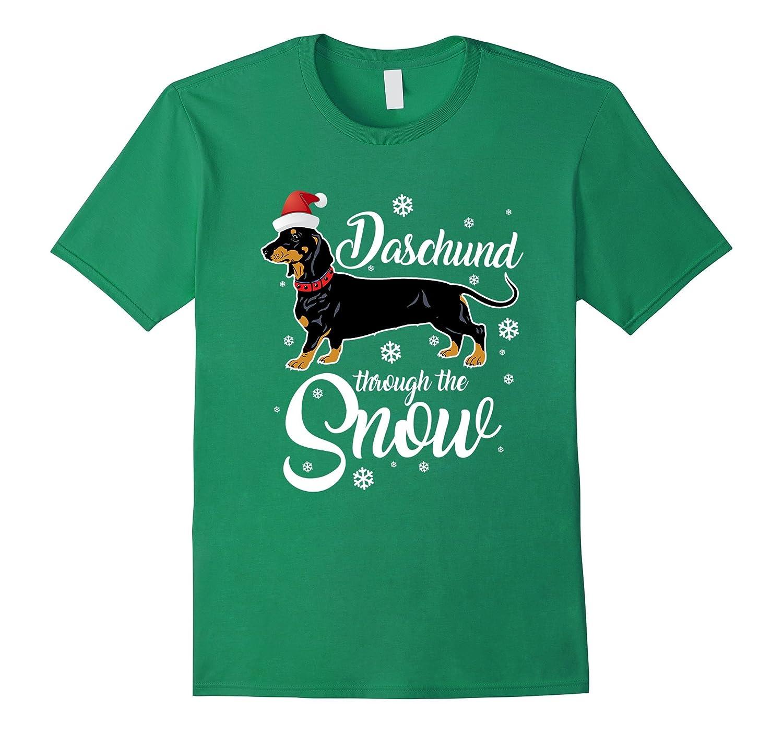 Daschund Through the Snow Funny Christmas Pun T-Shirt-ANZ