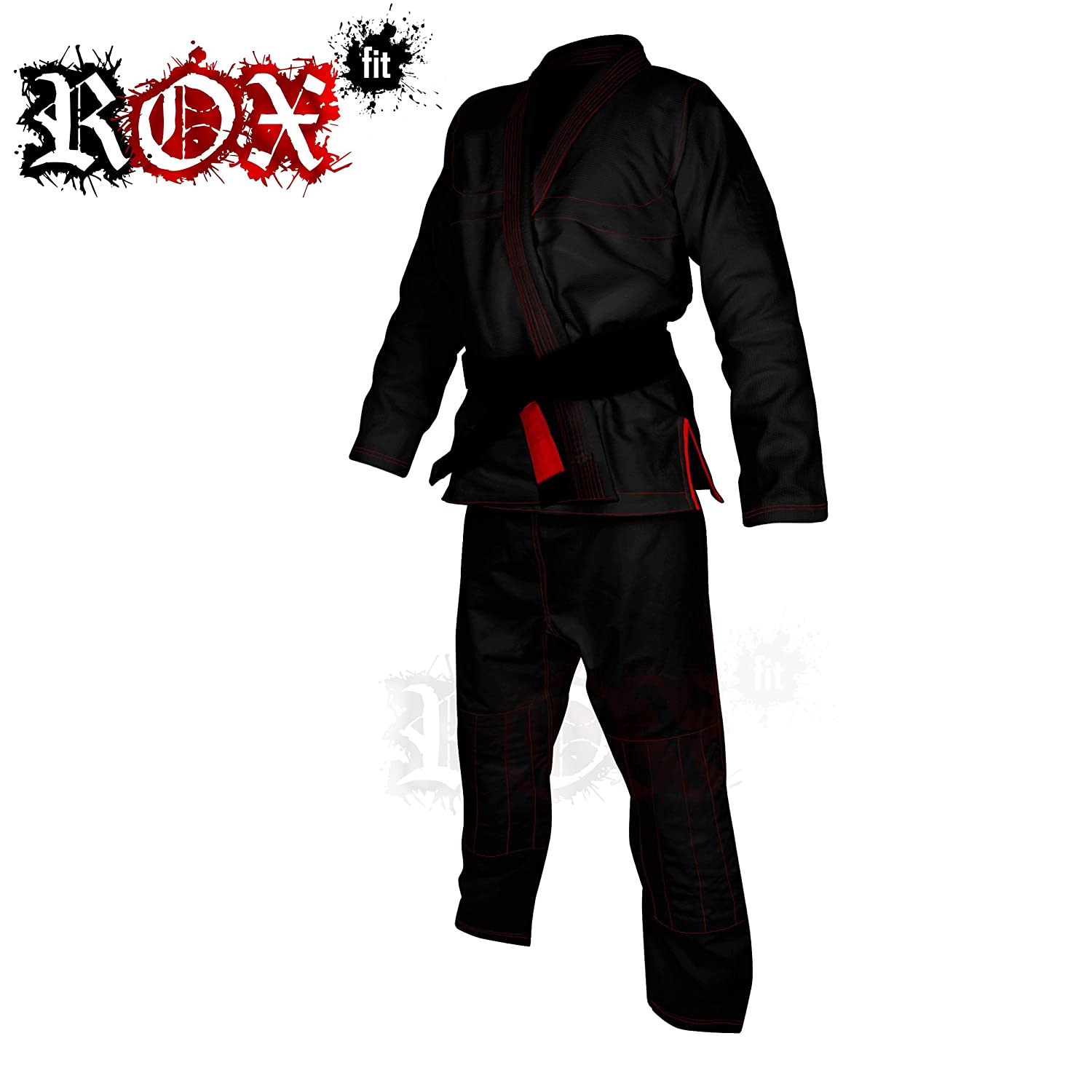 ROX Fit BJJ Gi trajes para la competencia Brazilian Jiu Jitsu Brasileño, color negro con costuras de color rojo, A0, A1, A2, A3, A4, A5, A6, color Negro - Black Suit With Red Stitching, tamaño A0 ROX-10-20-30