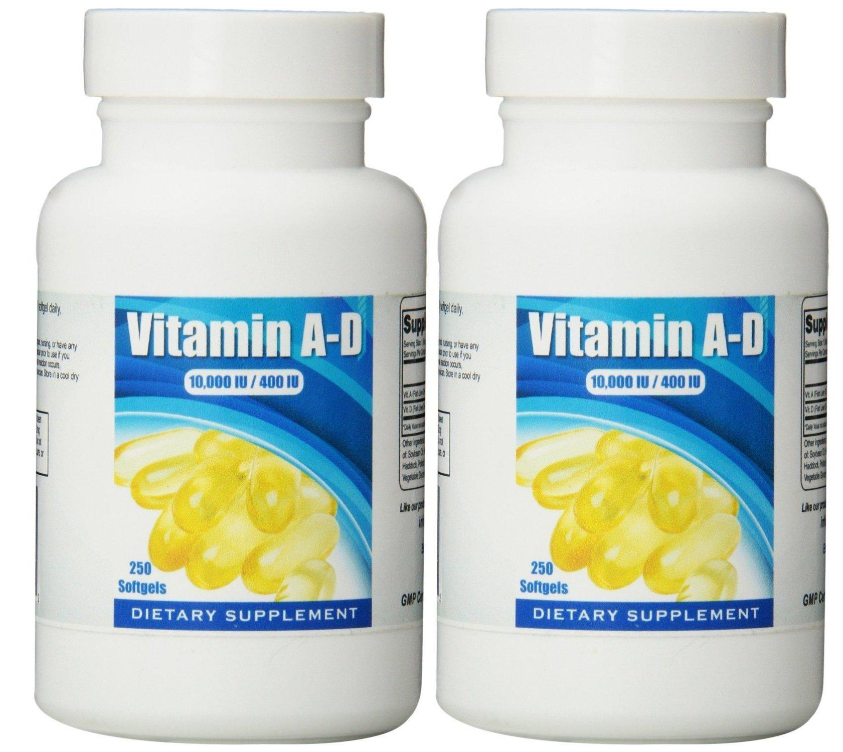 Eden Pond Vitamin A-D Softgels, 250 Capsules, 2 Count