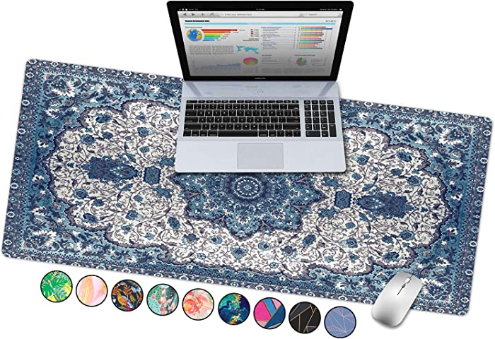 "French Koko Large Mouse Pad, Desk Mat, Keyboard Pad, Desktop Home Office School Cute Decor Big Extended Laptop Protector Computer Accessories Mousepad Fun Workspace XL 31""x15"" (Persian Oriental Rug)"