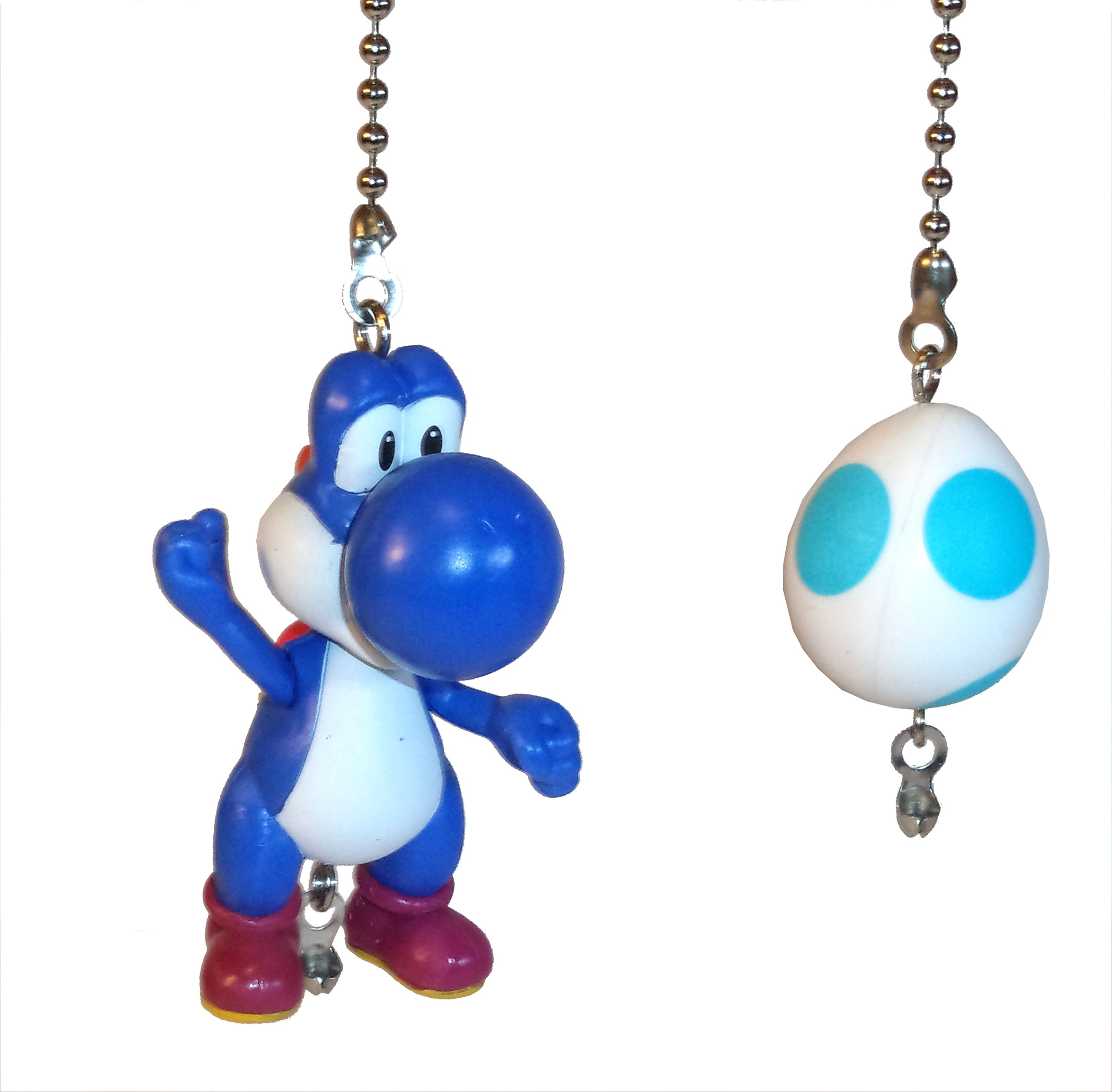 Mario Bros Ceiling Fan Pull Set by Wooden Androyd Studio (Blue Yoshi & Egg)