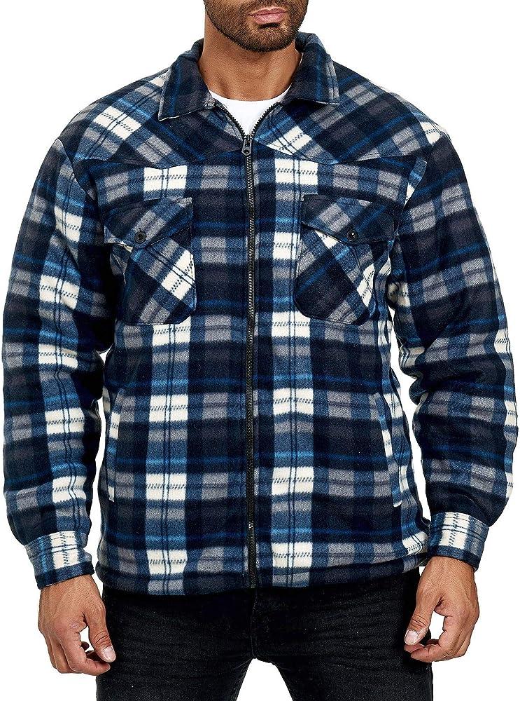 EGOMAXX Camisa térmica para Hombres Chaqueta Leñador A Cuadros Fleece Franela, Talla de Chaqueta:XXL, Color:Azul Oscuro-Azul Claro: Amazon.es: Ropa y accesorios