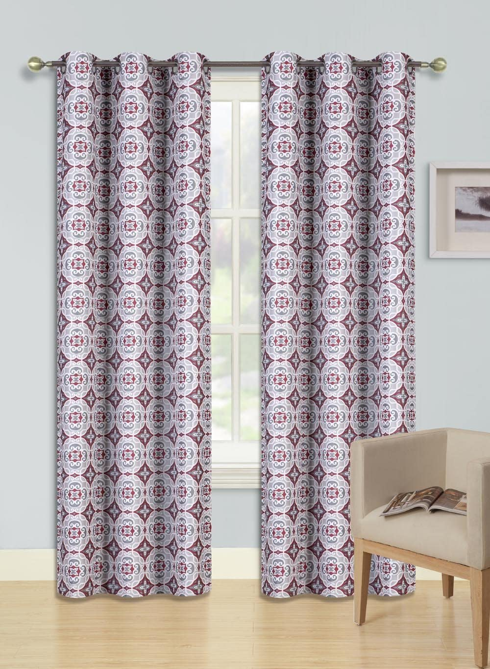 """GorgeousHomeLinen (F'S) 1 Panel 2 Tone Printed Design Room Darkening Thermal Blackout Window Curtain 63"""" or 84"""" Long, 3 Different Designs (84"""" Length, Rosa-Red)"""