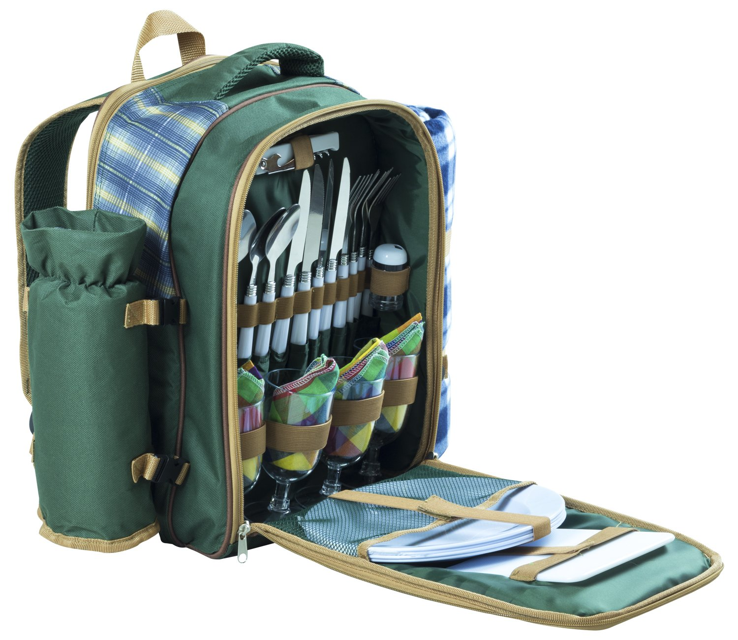 Andes 4 Person Deluxe Picnic Set Hamper Backpack/Rucksack Cool Bag, Includes Cutlery, Plates, Napkins, Wine Glasses, Bottle Opener, Chopping Board