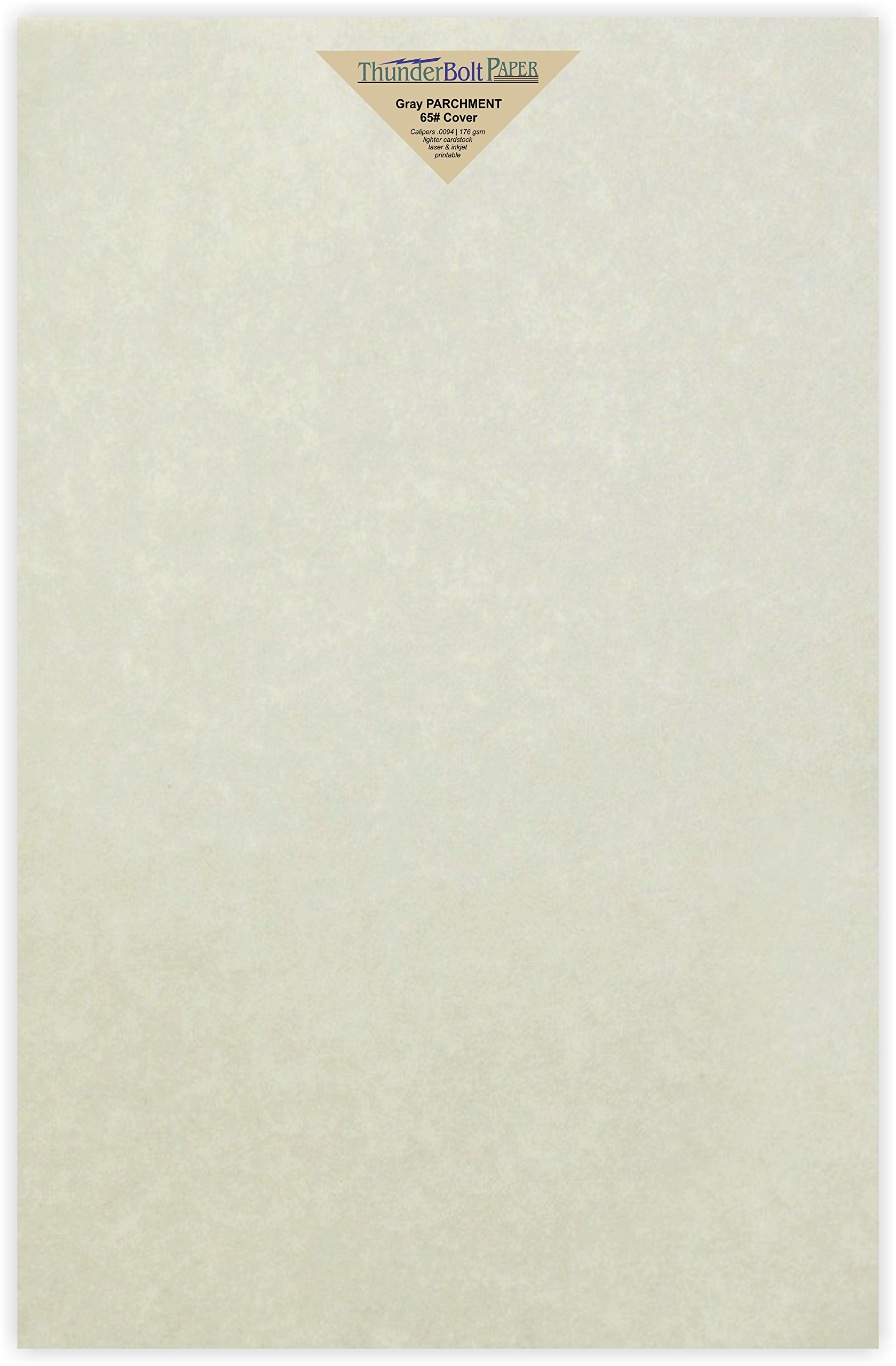 25 Gray Parchment 65lb Cover Weight Paper - 12'' X 18'' (12X18 Inches) Large|Poster Size - Printable Light Weight Cardstock Colored Sheets Old Parchment Semblance by ThunderBolt Paper