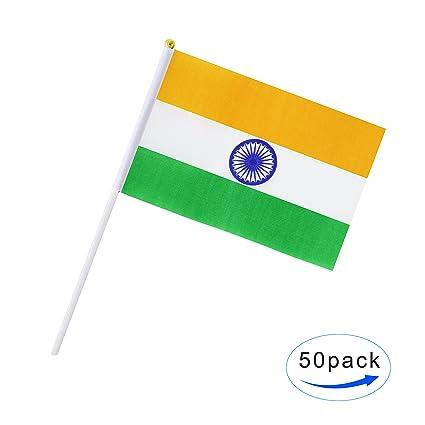 amazon com hand held india flag indian flag stick flag mini flag