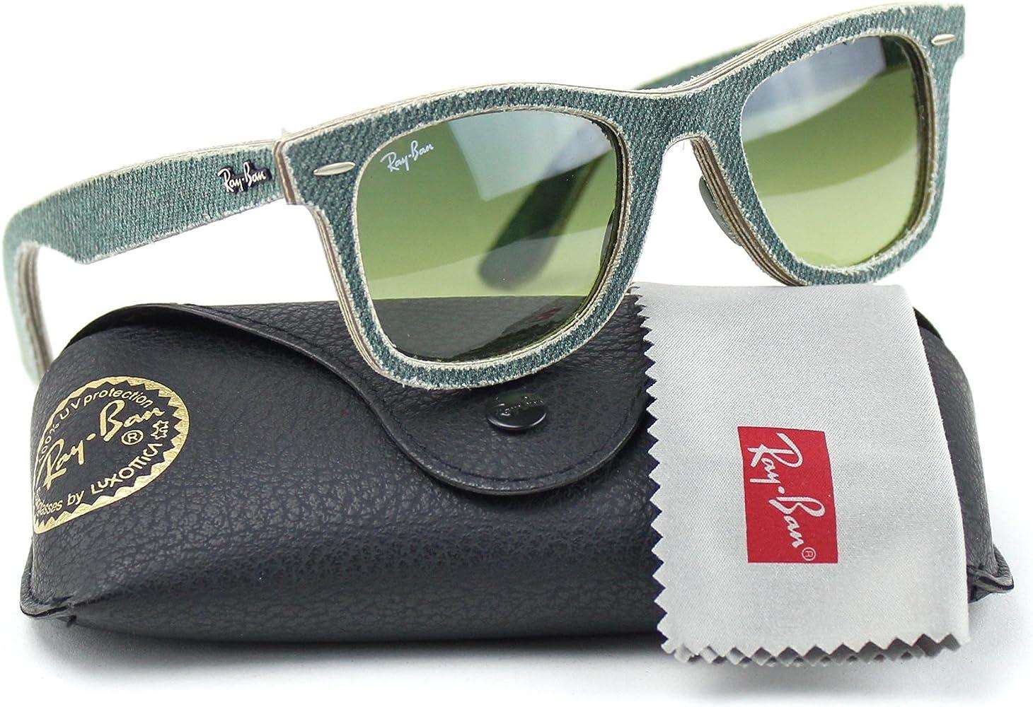 Ray-Ban RB2140 11663M Wayfarer Gafas de sol Verde Jeans Marco/Verde Gradiente Lente 50mm: Amazon.es: Ropa y accesorios