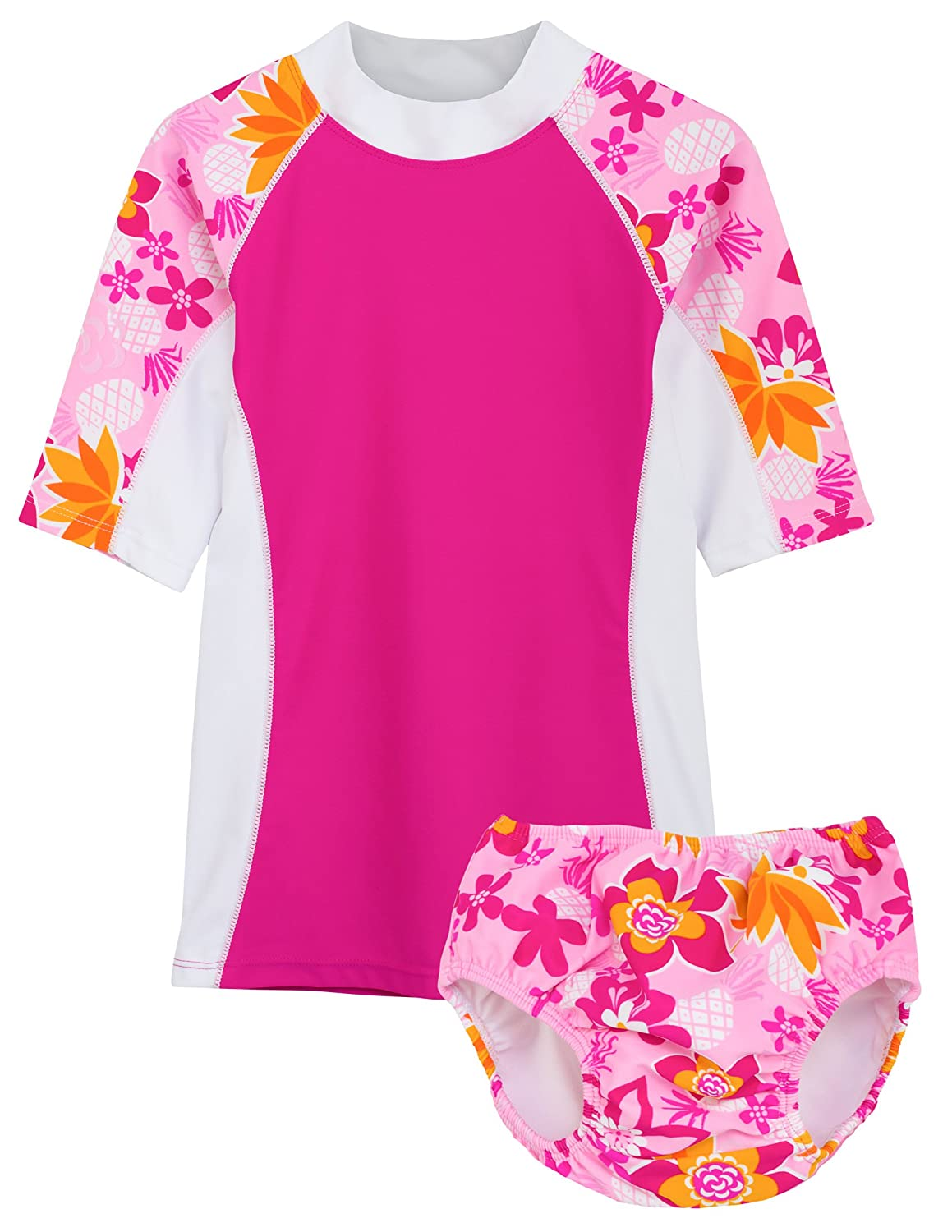 Tuga Girls Two-Piece Swim Diaper Bathing Suit, UPF 50+ Sun Protection Swim Suit