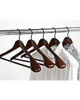 【品質】木製ハンガー スーツ・ジャケット用 胡桃色 5本組セット ROZZERMANブランド A124