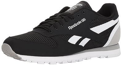 36098431a Reebok Men s Classic Leather Sneaker Black Stark Grey White 8 D(M ...