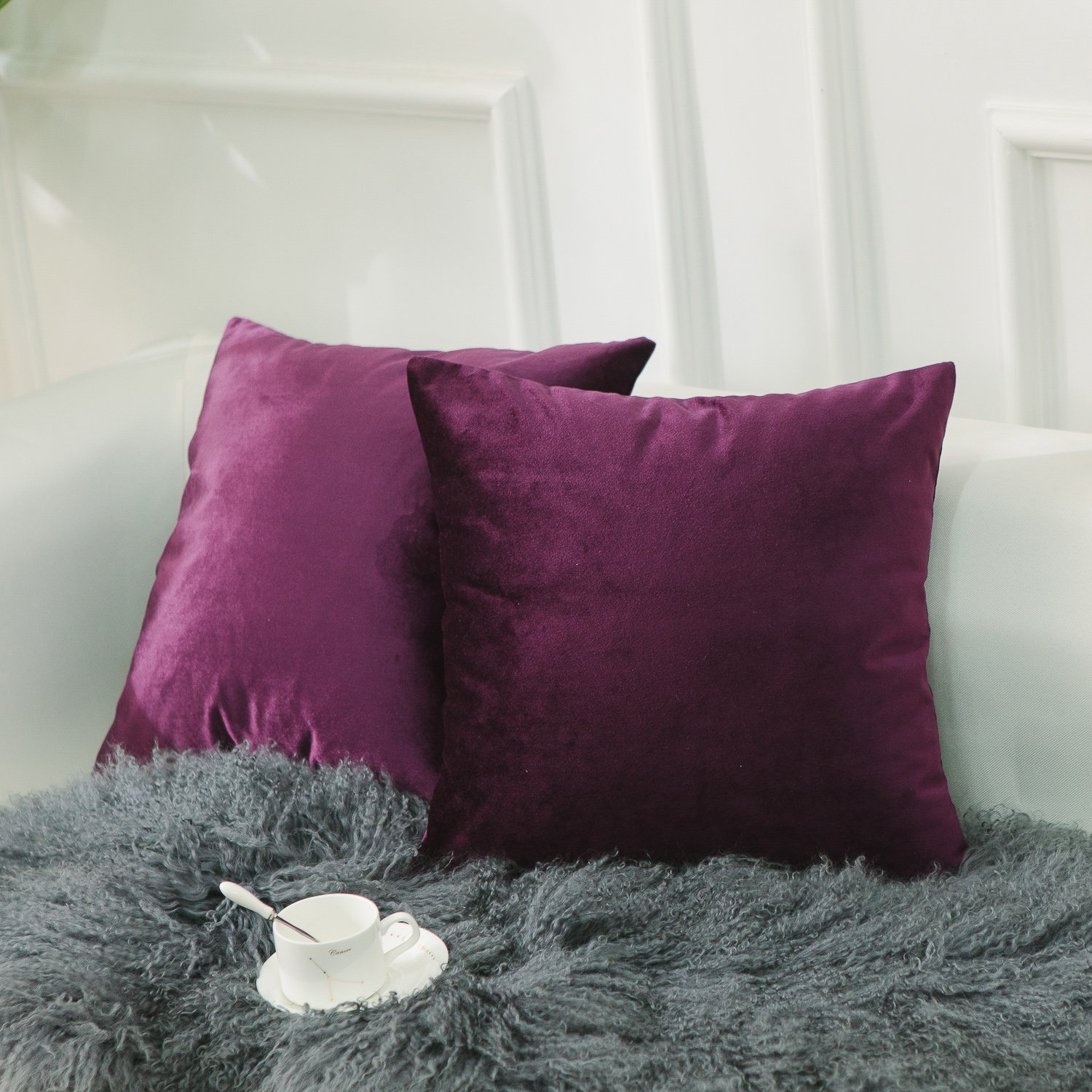 HOME BRILLIANT 2 Pack Plain Velvet Throw Pillow Covers Decorative Square Cushion Covers PillowCases Set for Couch Bench Bed Car, 45x45 cm(18''x18''), Eggplant