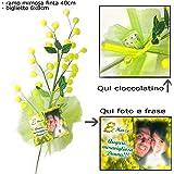 Ramo di mimosa personalizzato con frase e foto + cioccolatino Idea Regalo per la Festa della Donna 8 Marzo