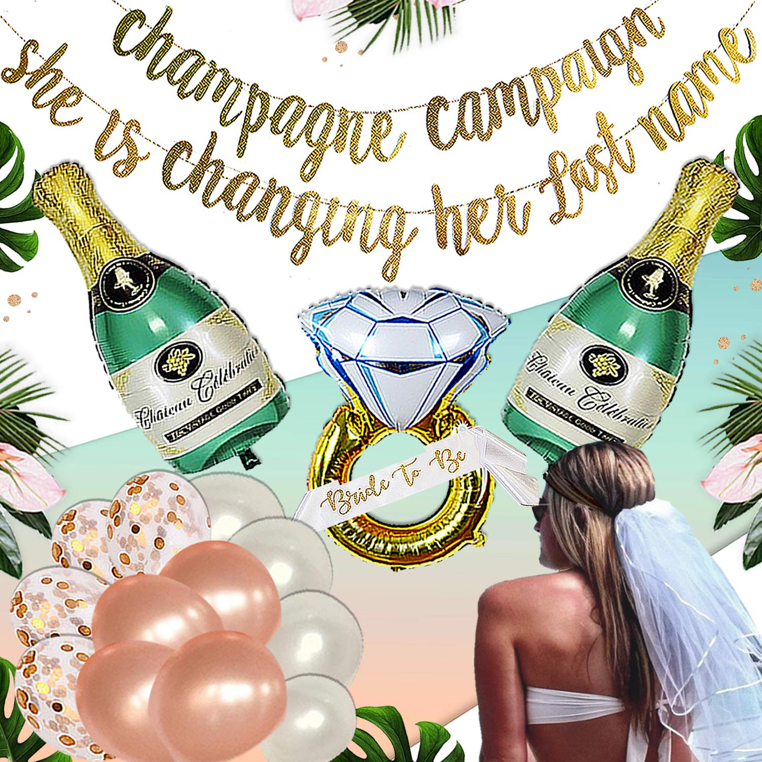Bachelorette Party Decorations Kit | Bridal Shower Supplies | Bride to Be Sash, Ring and Champagne Foil, Rose Balloons, Gold Glitter Banner | Champagne Campaign she is changing her last name