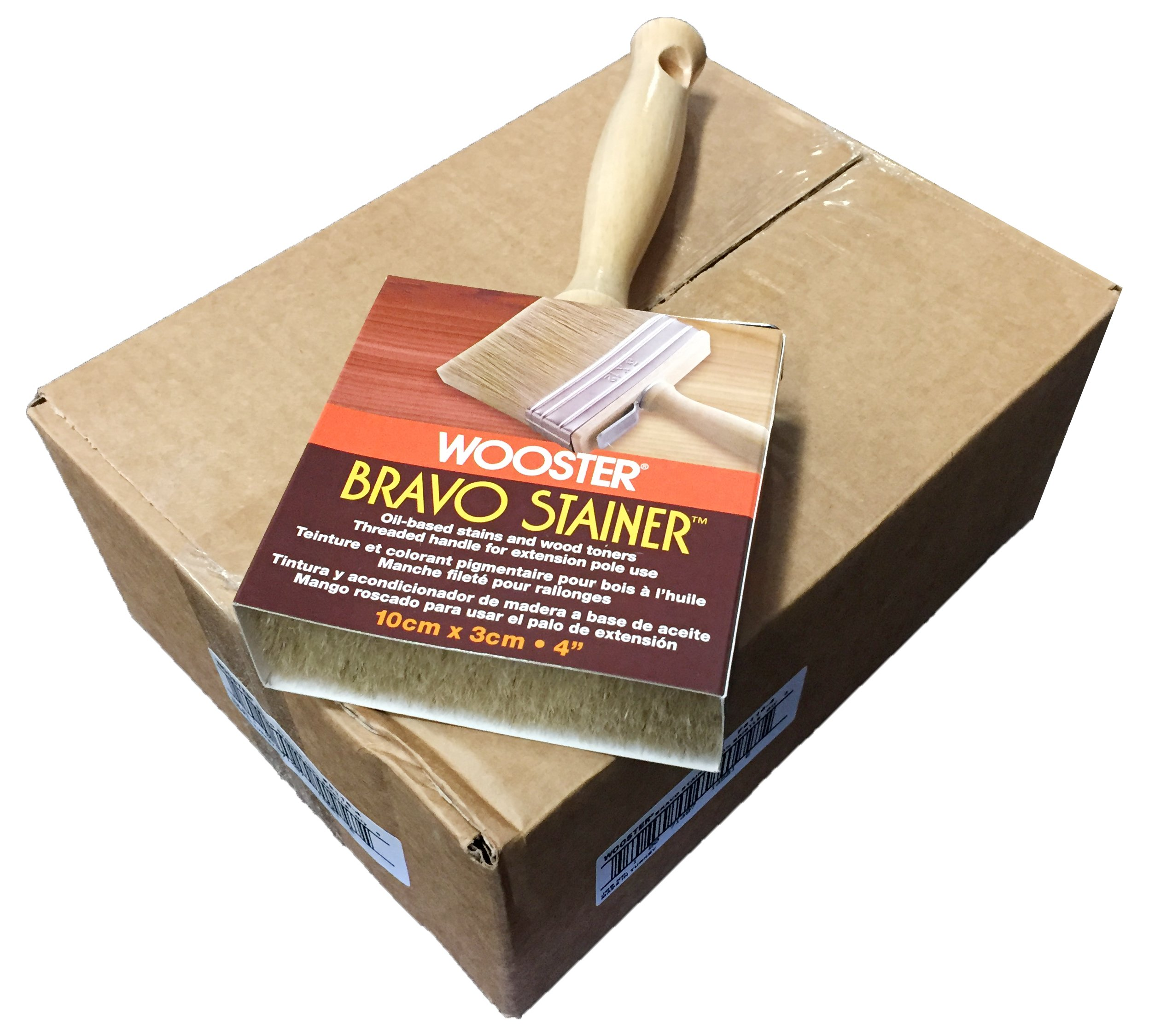 Wooster Brush F5116-4 Bravo Stainer Stain Brush, Pack of 6