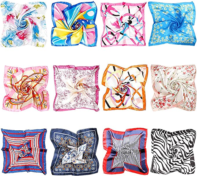 Yumi V 12 Pcs Womens Small Square Scarves Fashion Small Square Satin Scarf Silky Silk Feeling Satin Mixed Set for The Scarf Hairband Hair Scarves Wristband and Decorate Your Bag 19.7 X 19.7 Inches