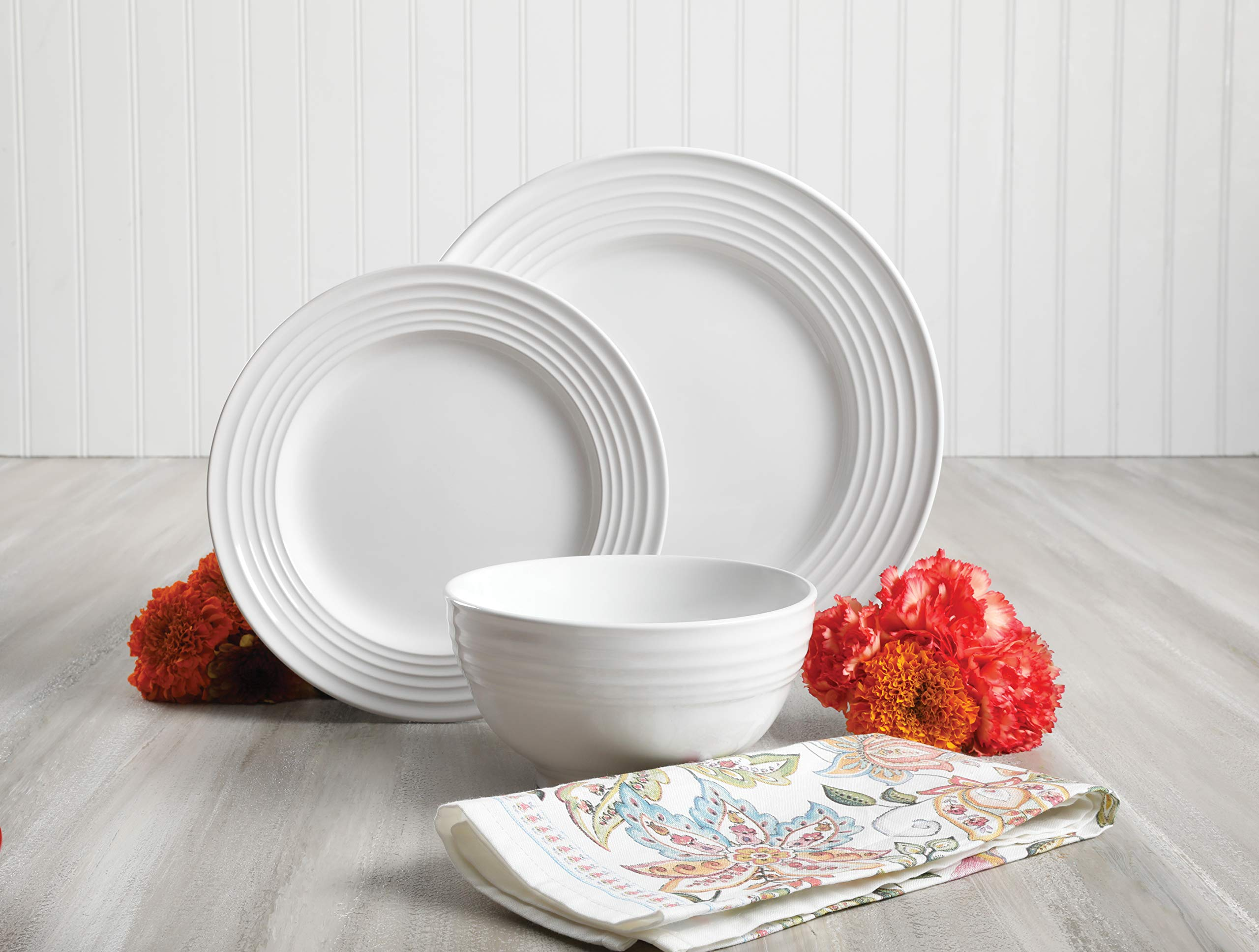 Gibson Home 12 Piece Plaza Cafe Round Dinnerware Set with Embossed Stoneware, White by Gibson Home (Image #7)