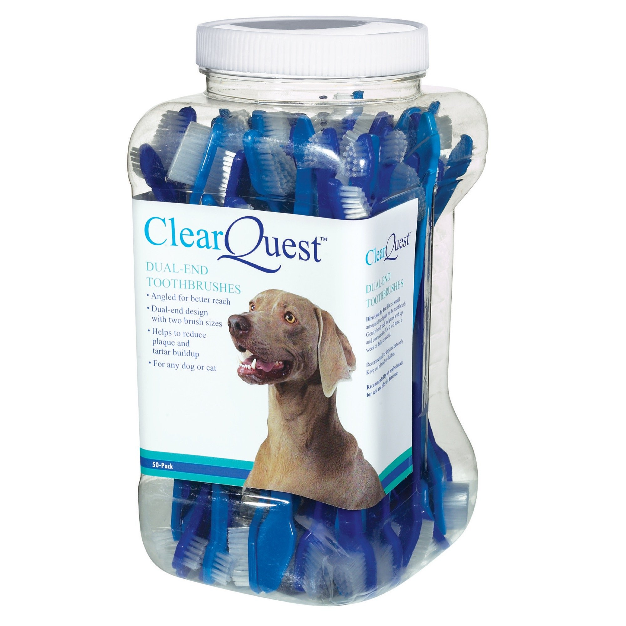 ClearQuest Dual-End Pet Toothbrushes, 9-Inch, 50/Canister, (Colors Vary)