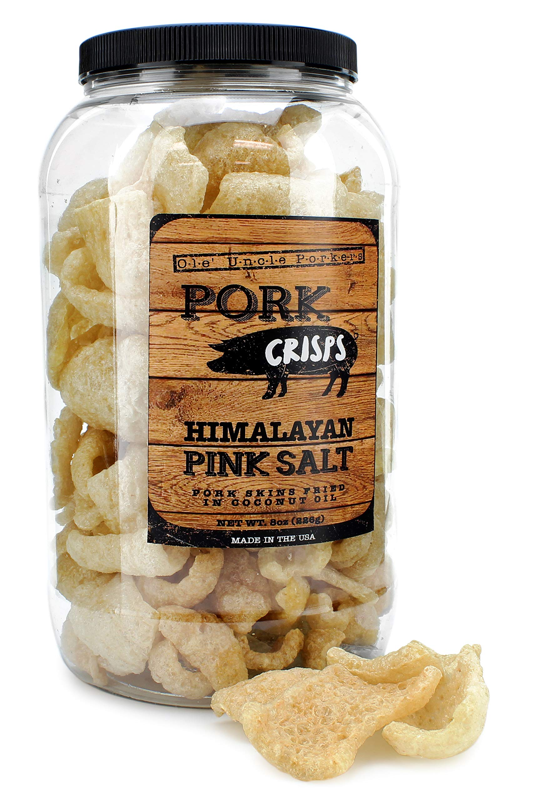Keto Friendly Pork Rinds (Himalayan Pink Salt, 8-Ounce); Pork Crisps Fried in Coconut Oil by Ole' Uncle Porkers