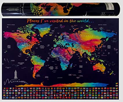 Amazon.com: Scratch Off Map of The World - Scratch Map with ...