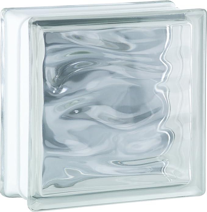 6 piezas BM bloques de vidrio AGUA neutro 19x19x8 cm: Amazon.es: Bricolaje y herramientas