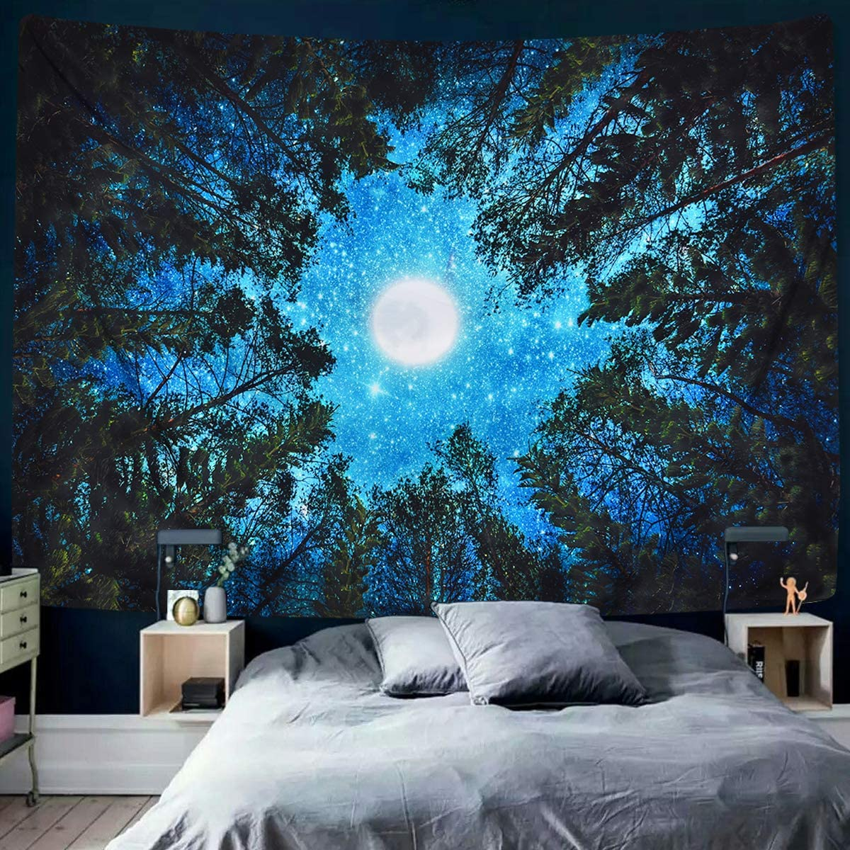 Alishomtll Forest Starry Tapestry Moon and Stars Tapestry 3D ...