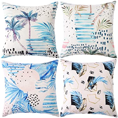 ZUEXT Tropical Leaves Decorative Throw Pillow Covers 18 x 18 Inch, Set of 4 Cotton Linen Burlap Pillowcases for Car, Sofa, Bed, Cushions, Indoor Outdoor Home Wedding Decoration Gift