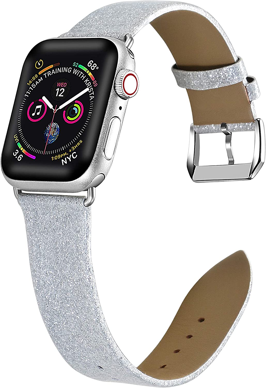 Libra Gemini Compatible for Apple Watch 38mm 40mm Leather Band , Genuine Leather Shiny Bling Glitter Strap Compatible iWatch Series5/ 4/3/2/1, Sports & Edition Women (Silver)