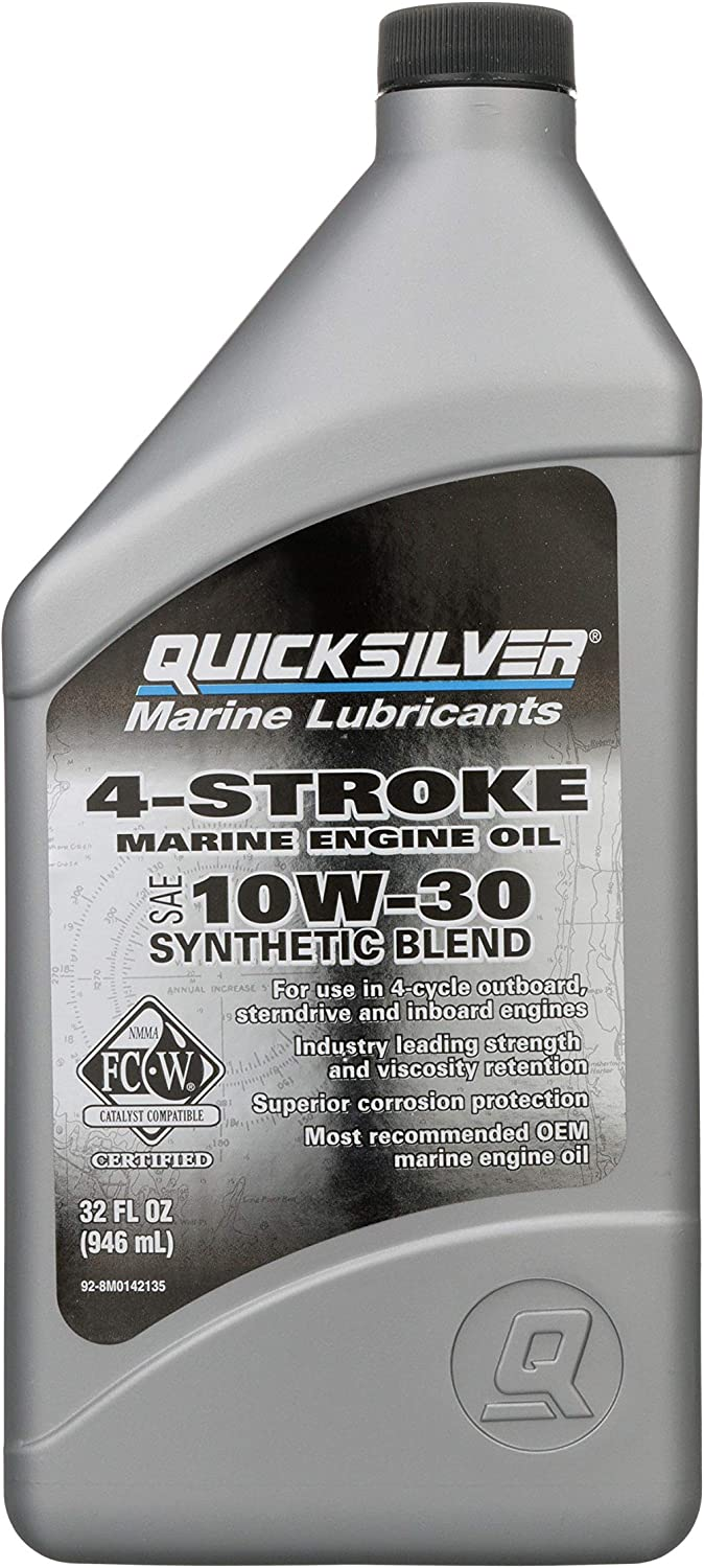 Quicksilver 4-Stroke Marine Engine Oil – for Outboard, Sterndrive & Inboard Engines – SAE 10W-30 Synthetic